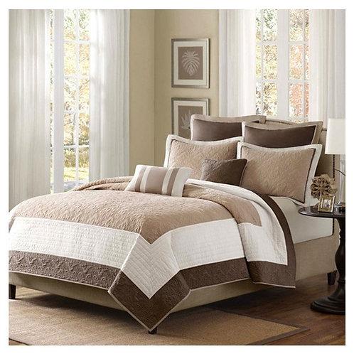 Home > Bedroom > Quilts & Blankets > Full / Queen Brown Ivory Tan Cream 7 Pie