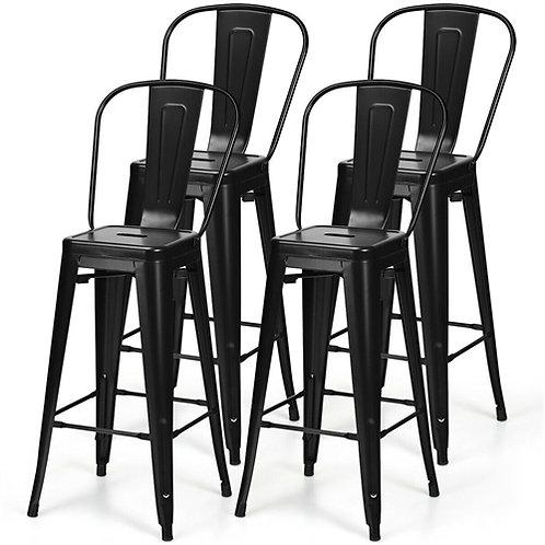 "Home > Dining > Barstools > Set of 4 Black 30"" Height High Back Metal Industr"