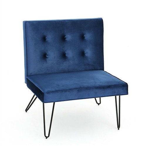 Home > Living Room > Accent Chairs > Navy Velvety Soft Upholstered Polyester