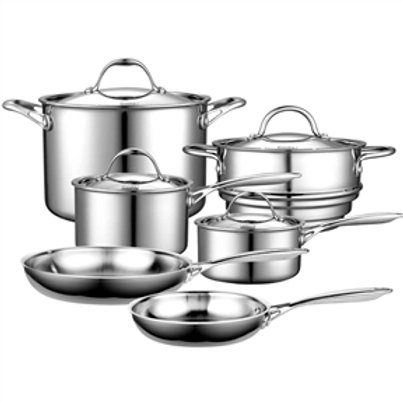 Home > Kitchen > Cookware Sets > 10-Piece Stainless Steel Cookware Set - Life