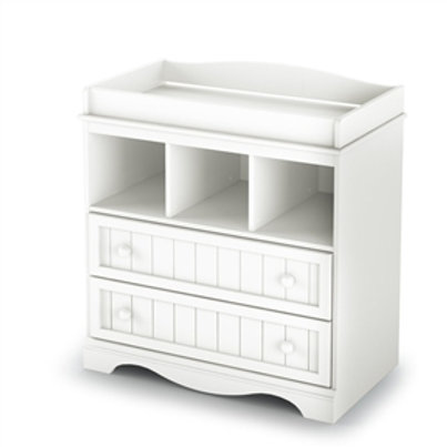 Home > Bedroom > Kids Bedroom > White Wood Baby Diaper Changing Table with 2