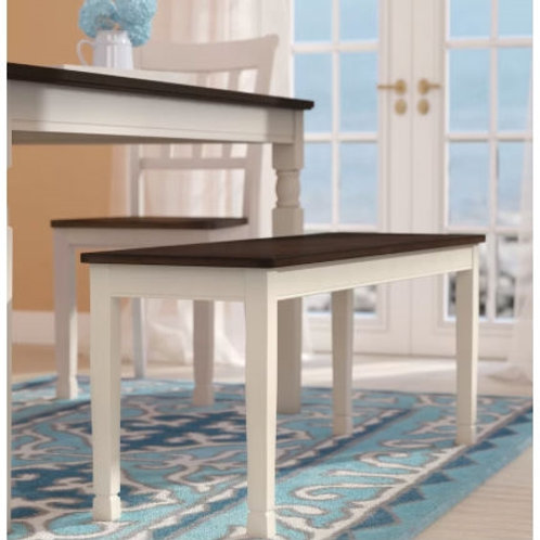 Home > Accents > Benches > Kitchen Seating Wooden Bench in White and Brown Fi