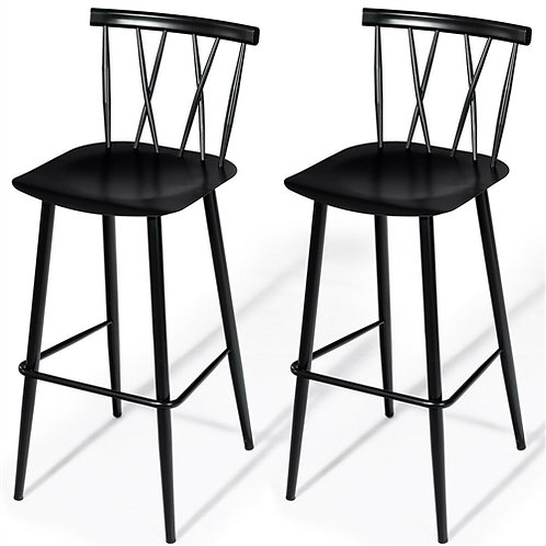 Home > Dining > Barstools > Set of 2 Black Steel Bar Height Barstool Dining C