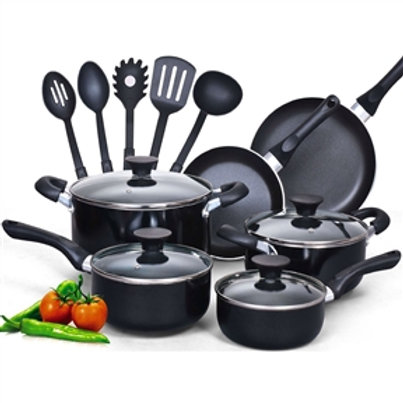 Home > Kitchen > Cookware Sets > 15-Piece Non-Stick Kitchen Cookware Set in B