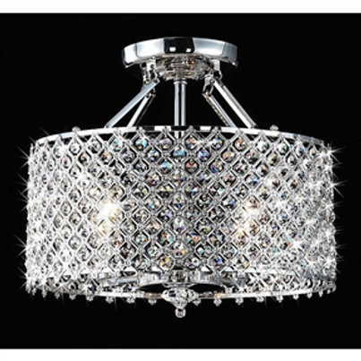 This 3-Light Chrome Crystal Chandelier with Fabric Shade will Brighten your home