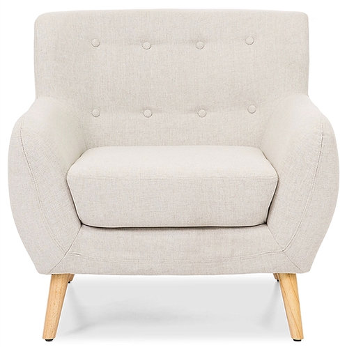 Home > Living Room > Accent Chairs > Light Grey Upholstered Tufted Armchair w