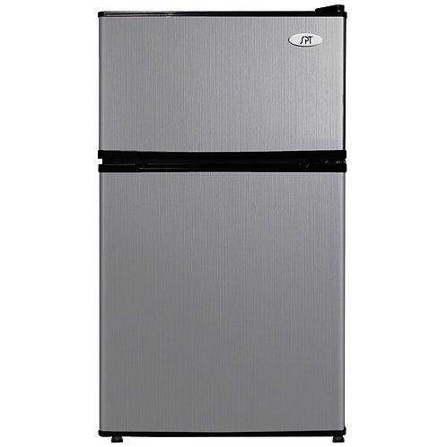 3.1 Cubic Foot Double Door Stainless Steel Refrigerator with Freezer