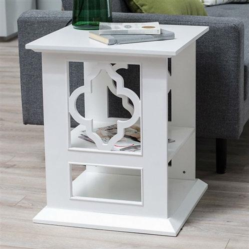 Home > Living Room > Coffee Tables > White Wood 2-Shelf Quatrefoil End Table