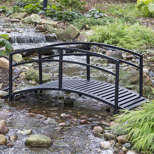 Home > Outdoor > Garden Bridges > Sturdy 6-Foot Black Metal Garden Bridge wit