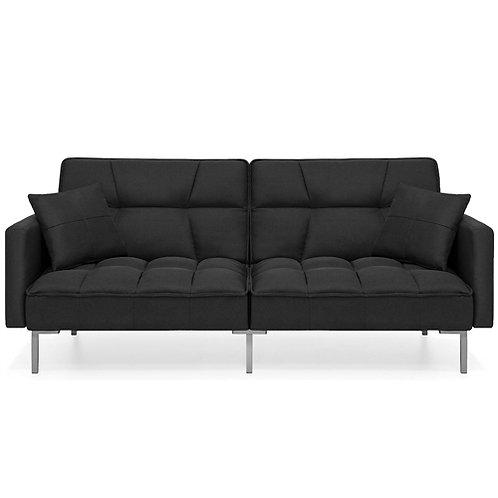 Home > Living Room > Sofas > Plush Black Split-Back Design Convertible Linen