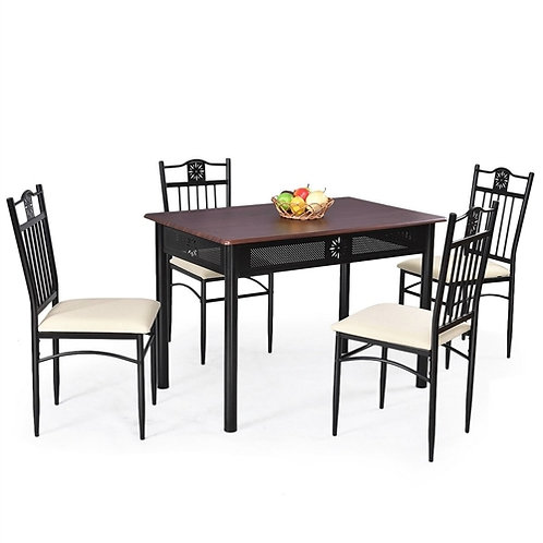 Home > Dining > Dining Sets > 5-Piece Black Brown Dining Set Wood Metal Table
