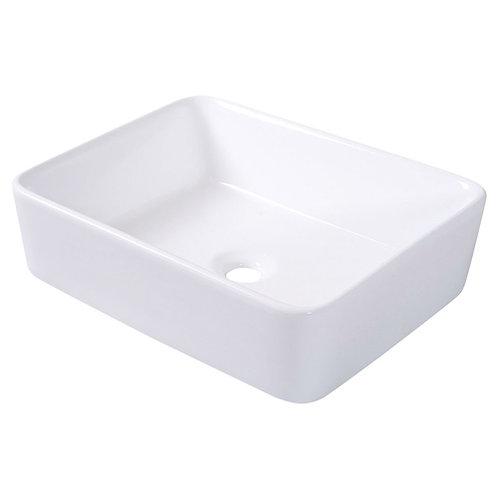 Home > Bathroom > Bathroom Sinks > Modern 19-inch Rectangular Ceramic Vessel