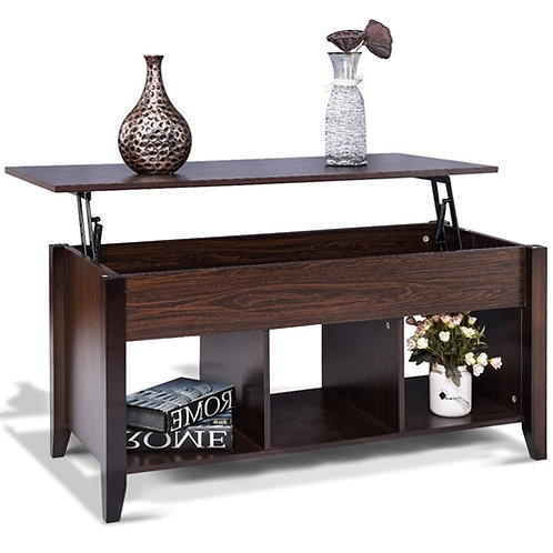Home > Living Room > Coffee Tables > Brown Wood Lift-Top Coffee Table with Bo