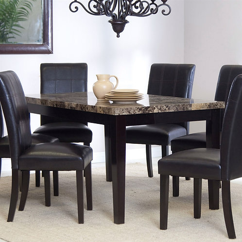 3Ft x 5Ft Contemporary Dining Table with Faux Marble Tabletop