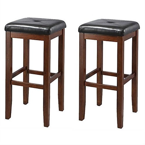 Home > Dining > Barstools > Set of 2 Vintage Mahogany Stools with Black Uphol