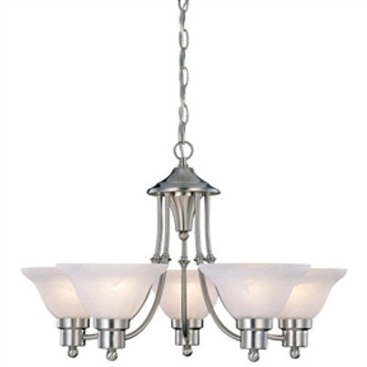 Home > Lighting > Chandeliers > 5-Light Brushed Nickel Chandelier with White