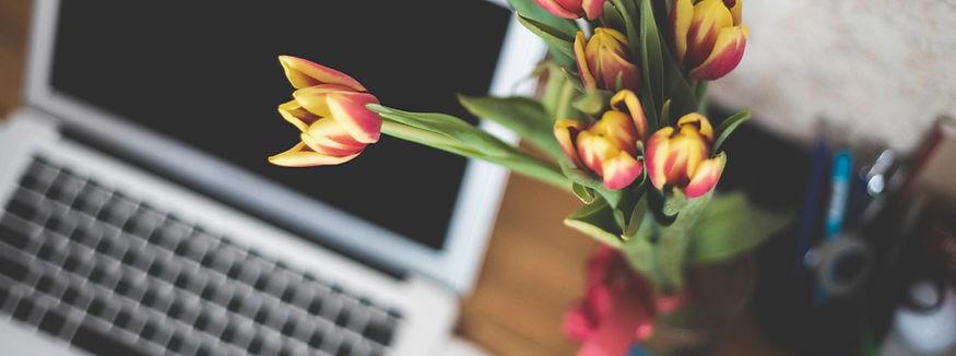 Kontakt, skontaktuj się ze mną, praca, laptop, kwiaty