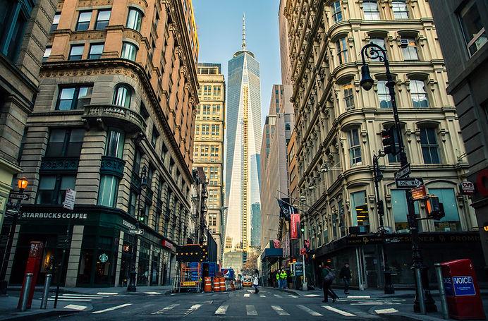 A downtown corridor in a big city
