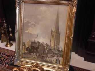 おすすめの英国アンティーク絵画|ウェイクフィールド大聖堂が描かれた油絵