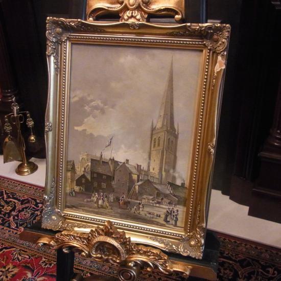 ウェイクフィールド大聖堂が描かれた油絵