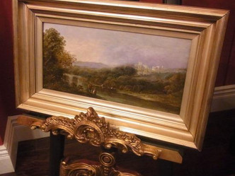 おすすめの英国アンティーク絵画|ニッド川の川岸が描かれた美しい油絵