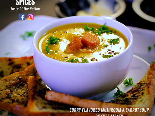 Curry Flavored Mushroom & Carrot Soup By Chef Jagath