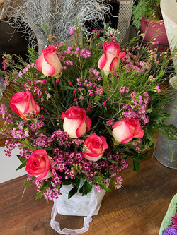 Roses and Wax Flower