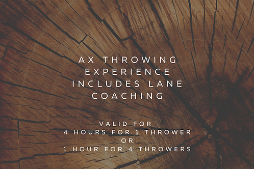 $84 Axe Throwing Gift Certificate