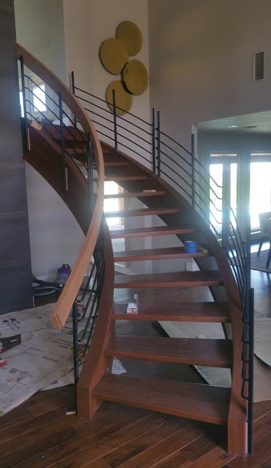 Curved Staircase Design Finished Project