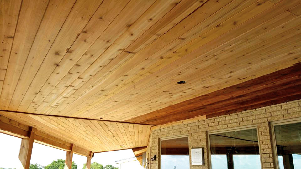 Wood Paneled Patio Ceiling Construct