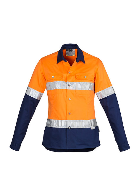 ZWL123 Womens Hi Vis Spliced Industrial Shirt - Hoop Taped
