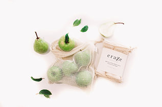 mesh produce bags, reusable produce bags, plastic free, zero waste shopping kit, sustainable products, zero waste, eraze, eraze waste, plastic free