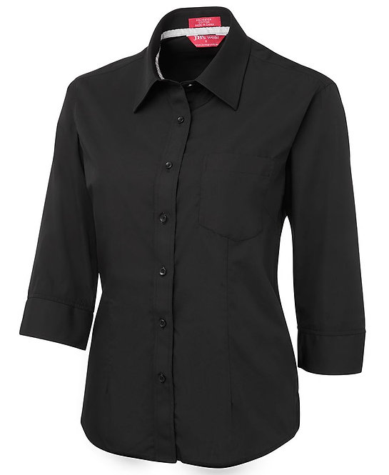 LADIES CONTRAST PLACKET 3/4 SHIRT 4PCL3 Contrast Placket Shirt