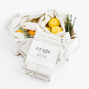 reusable produce bags, organic cotton shopping bags, eraze, eraze waste, plastic free shopping, zero waste shopping kit