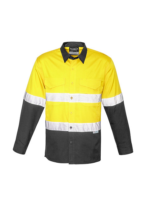 ZW129 Mens Rugged Cooling Taped Hi Vis Spliced Shirt