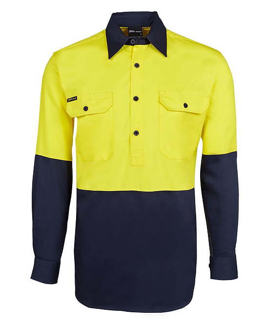 6HVCF HI VIS L/S 190G CLOSE FRONT