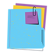 file with a paperclip and papers inside