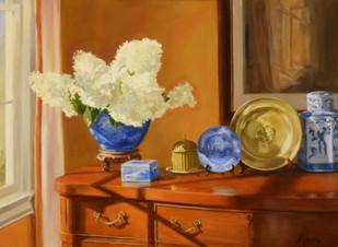 Hydrangeas with Blue & White