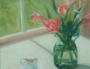 Pink Tulips with Demitasse