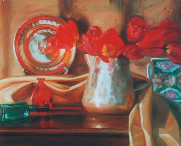 Red Tulips and Copper
