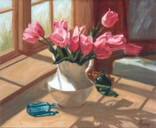 Pink Tulips in White Ironstone