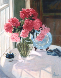 Pink Peonies with Blue & White