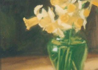Daffodils in Green Glass