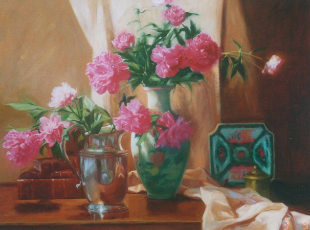Pink Peonies in a Chinese Vase