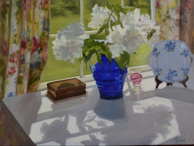 Peonies with Blue Glass
