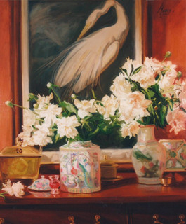 White Peonies & Chinese Porcelain