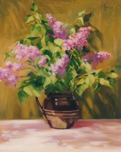 Lilacs in Black Stoneware