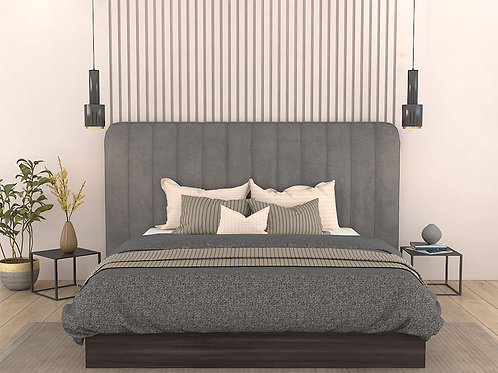 Leonardo Upholstered Double Bed In Grey Colour