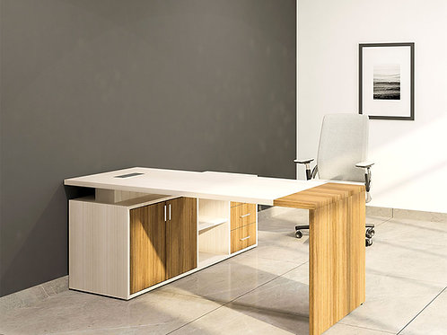Adriano Director's Table in Birch and White