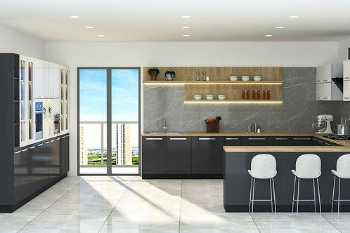 Bettina U Shaped Modular Kitchen in Marble Grey and Dark Slate